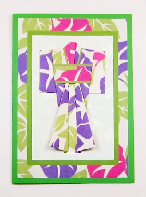 Kimono Origami Greeting Card - Morning Glory (KI 038)