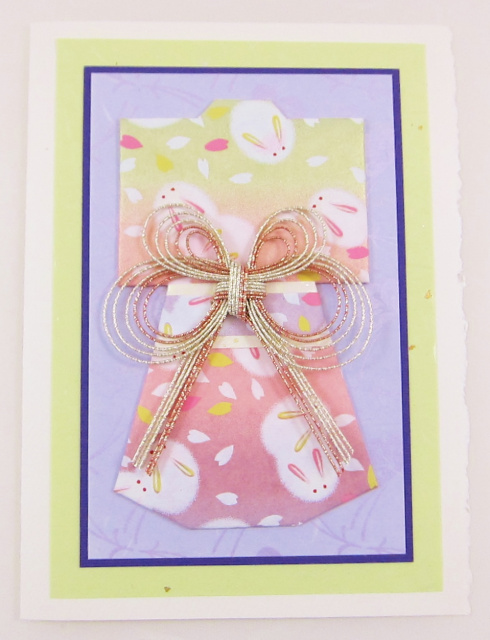 Kimono Origami Greeting Card - Snow Rabbits with Decorative Mizuhiki (KI 075)