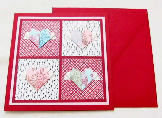 Origami Flying Hearts Greeting Card - Square (OH 004)