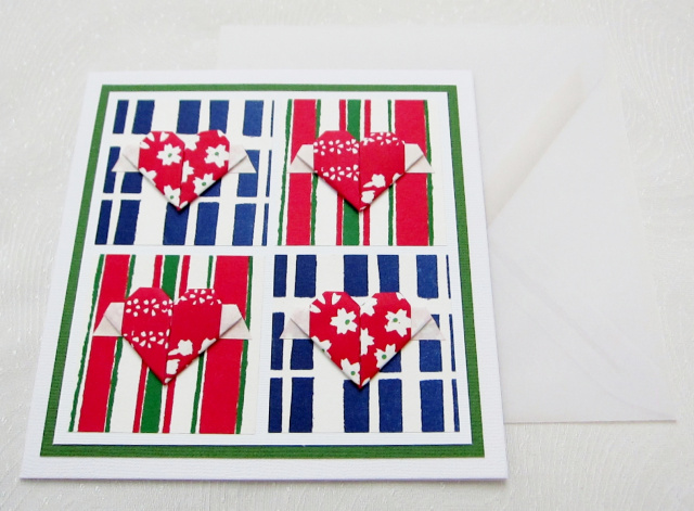 Origami Flying Hearts Greeting Card - Square (OH 015)