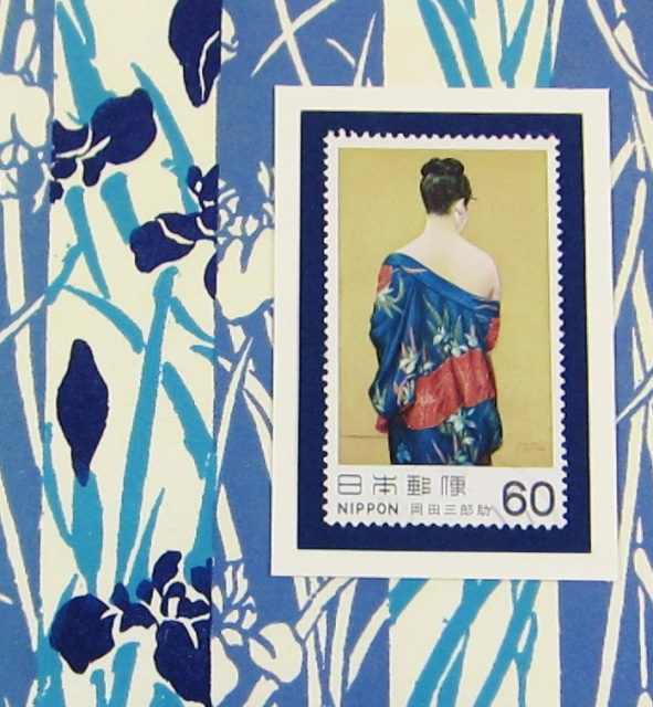 Genuine Japanese Postal Stamp Greeting Card - Beauty in Iris Kimono (JS 020)