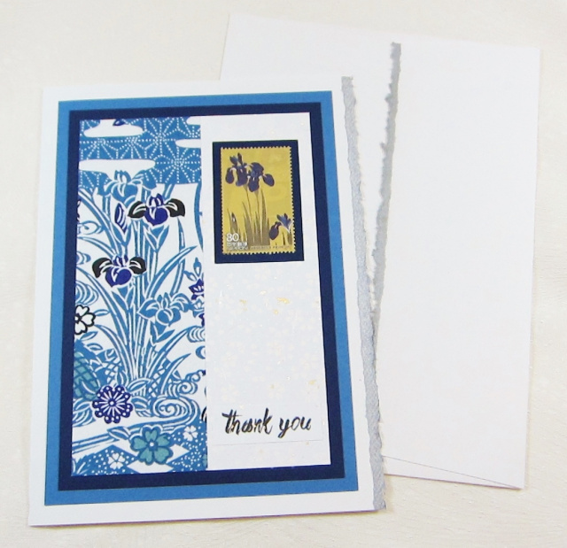 Genuine Japanese Postal Stamp Thank You Card - Iris (JS 021)