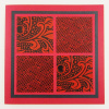 Red & Black Embossed Origami Greeting Card - Square (AO 074)